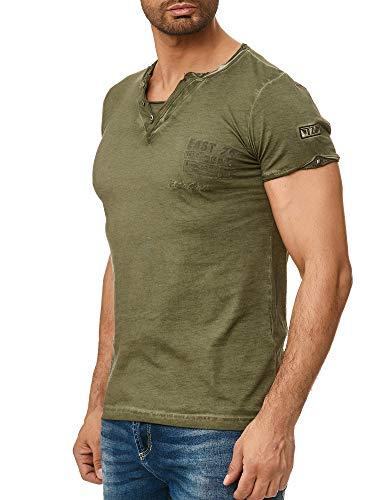 Tazzio Herren T-Shirt mit V-Halsausschitt 4060 (M, Khaki)