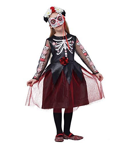 IKALI Disfraz de esqueleto de halloween para niña, Dia de los Muertos Cráneo de margarita Vestido de lujo 3 piezas