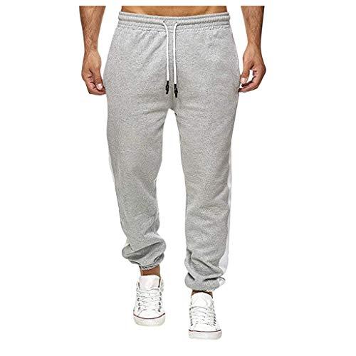 Xmiral Jogginghose Herren Elastische Taille Tunnelzug Slim Hose Knöchel Gebundene Hose Laufen Sports Fitness Latzhose (b Grau,S)