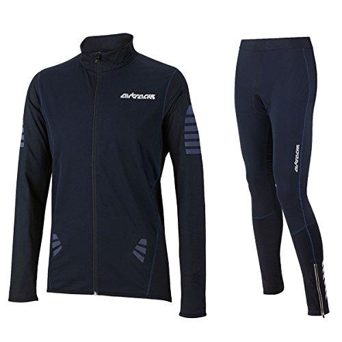 Juego de camiseta y pantalones AirTracks de ciclismo, térmicos y cortavientos, otoño/invierno, hombre, color negro / azul, tamaño extra-large