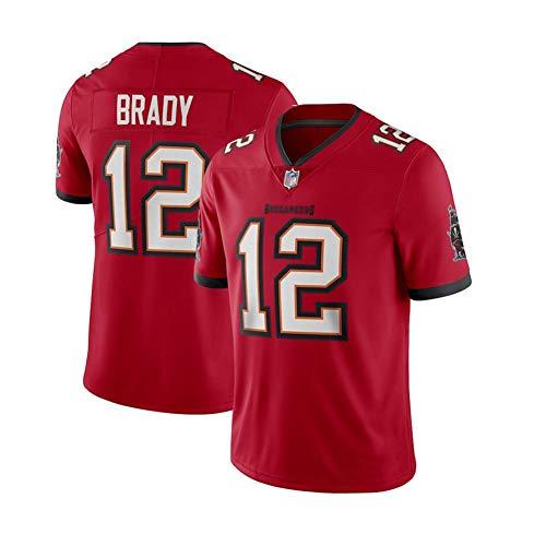 Tom Brady # 12 Herren Rugby Trikot -Tampa Bay Buccaneers-Stickerei KurzarmSport Trikots T-Shirt Wiederholbare Reinigung S-3XL-red B-3XL(195cm~210cm)