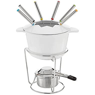 Cuisinart FP-115WS 13-Piece Cast Iron Fondue Set, White