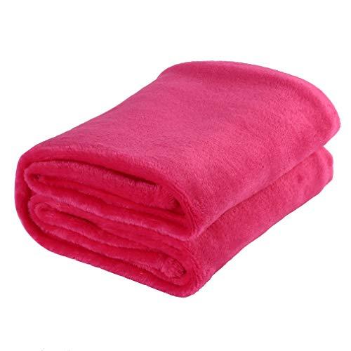 YLWL Manta Suave de Color sólido, Material de Lana de Coral, Manta pequeña para el hogar, Adecuada para sofá, Oficina, Coche, Manta (Rosa roja)