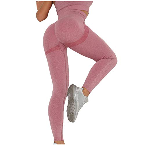 HWTOP Damen Slim Fit Hohe Taille Booty Lange Leggings mit Bauchkontrolle Laufhose Fitnesshose Sporthose Tights Yogahosen Yogaleggings Jogginghose Sportleggins Lang Yoga Pants Sport Tights