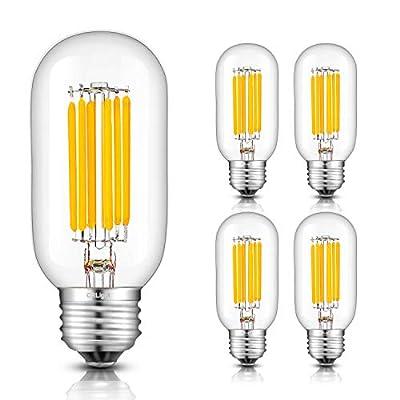 CRLight 8W Dimmable LED Tubular Bulb 80W Equivalent 800LM, 3000K Soft White E26 Medium Base, Vintage Edison Style T45 Tubular Clear Glass Lengthened Filament LED Light Bulbs, 4 Pack