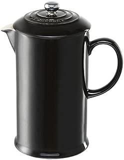 Le Creuset Shiny Black Stoneware French Press Coffee Maker, 1 Quart