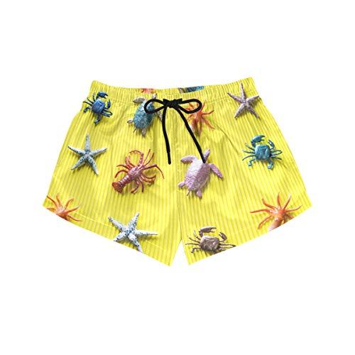 BONIPE Damen-Badehose, lustige Seestern, Schildkröte, Krabben, Ocean World, schnell trocknend, Surf Beach Board-Shorts mit Kordelzug und Taschen, S Gr. L, Mehrfarbig