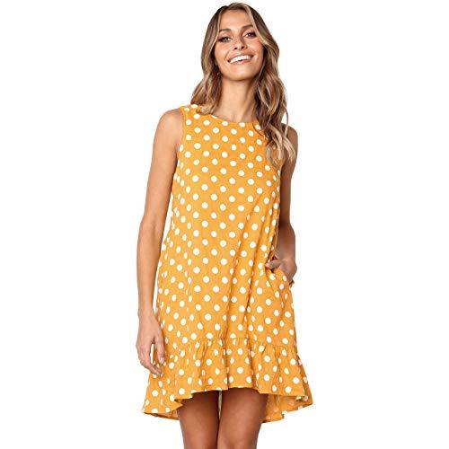 CHIC DIARY Sommerkleid Damen Rundhals Strandkleid Ärmellos Freizeitkleid kurz Süßer Damenkleider Tupfen Design, Schwarz/Pink/Gelb