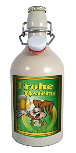 Frohe Ostern (2) - 0,75 Liter Tonflasche mit Bügelverschluss