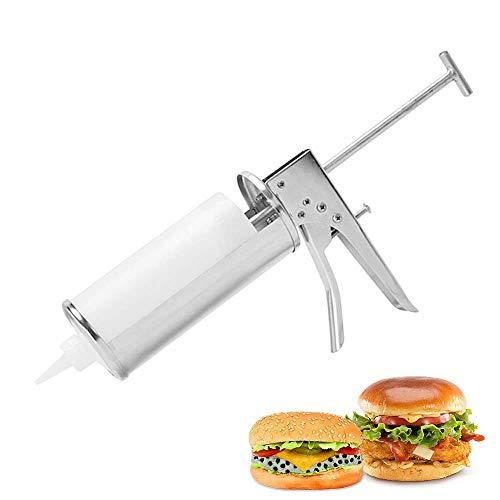YUCHENGTECH Dispensador de pistola de salsa Dispensador profesional de salsa de hamburguesa Pistola de salsa de acero inoxidable Salsa de tomate Exprimidor de salsa de ensalada con 2 botella de salsa