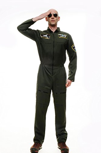 dressmeup Dress ME UP - L217/ML/M-0052 Kostüm Herren Herrenkostüm Pilot Kampfpilot Overall Airforce Größe M/L