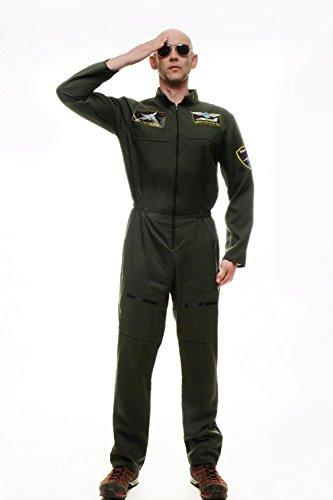 DRESS ME UP - Kostüm Herren Herrenkostüm Pilot Kampfpilot Overall Airforce Gr. S/M M-052