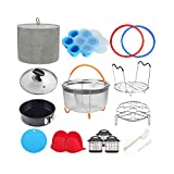 8 Quart Pressure Cooker Accessories Compatible with Instant Pot 8 Qt - Steamer Basket, Cloth Cover, Glass Lid, Silicone Sealing Rings, Egg Bites Mold, Springform Pan, Egg Steamer Rack and More