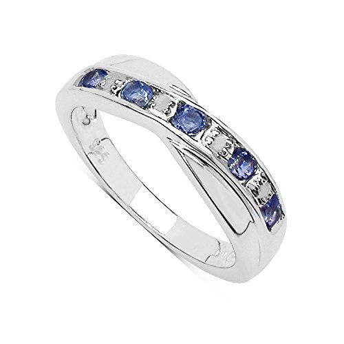 La Colección Anillo Diamantes: Anillo Tanzanita y set Diamantes genuinos en Plata de ley, Perfecto para regalo Anillo de Eternidad o Aniversario, Talla del anillo 12,5
