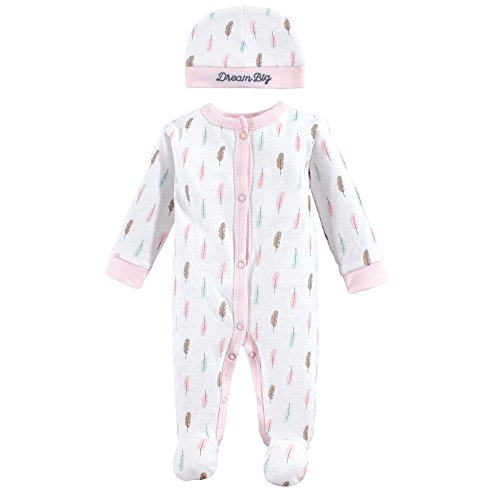 Luvable Friends Baby Cotton Preemie Sleep and Play and Cap, Feathers