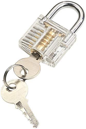 AGT durchsichtiges Schloss: Durchsichtiges Lockpicking-Übungsschloss mit 2 Schlüsseln (Trainingsschloss)