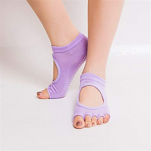 ZFFDP 10 Couleurs Femmes Yoga Dos Nu Cinq Toe Anti-Slip Cheville Grip Chaussettes Dots Fitness Gym Chaussettes Dames Chaussettes De Sport G Freesize