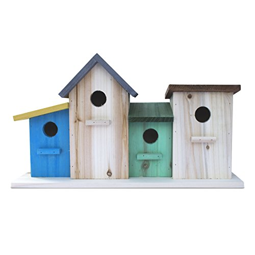 bird houses 23 Bees 4 Hole Bird House for Outside/Indoors/Hanging, Kits for Children & Adults, Decorative Birdhouse &Home Decoration, Outdoors Feeder for Birds, Bluebirds, Wrens & Chickadees, All Weather