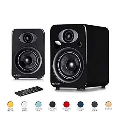 Steljes NS3 Powered Loud Speakers Stereo System Subwoofer British Design Compatible with iPhone through Bluetooth wirelessly (Coal Black) by Steljes