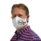 Bedruckbare Behelfsmaske weiß | mit Ihrem Logo oder Wunsch-Bild | Alltagsmaske für Herren | Mund- und Nasenmaske aus Baumwolle