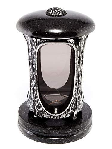 Afterglow Élégante lanterne funéraire Elégant en granit suédois - Noir - Hauteur : 23 cm - Diamètre : 15 cm - Lanterne funéraire en granit - Lanterne en bronze avec socle - Décoration funéraire