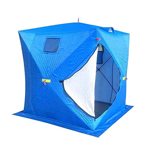 Winter tent 4 people Pop portable detachable portable for outdoor ice fishing Snowy tent for winter fishing suitable for camping (Color: blue Dimensions: 200x200x210cm)