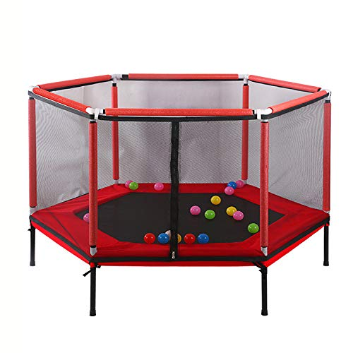 BUSUANZI Hexagon Kids Trampoline With Safety Enclosure Indoor And Outdoor Playground Parent-child Interactive Game Fitness Jumping Bed