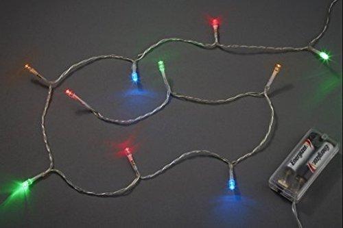 Hobbyfun Mini-Lichterkette mit 10 bunten LED-Lämpchen, Batteriebetrieb