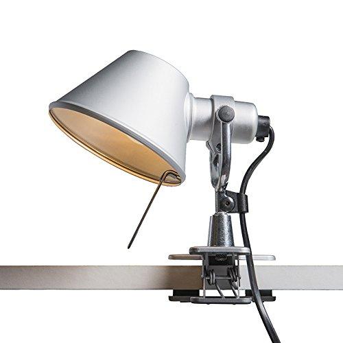Artemide Design/Modern Klemmleuchte Artemide Tolomeo micro pinza aluminium/Innenbeleuchtung/Wohnzimmerlampe/Schlafzimmer/Nachttischleuchte Rund LED geeignet E14 Max. 1 x 60 Watt