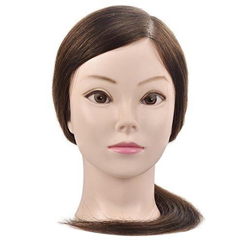 Cabeza de maniquí profesional para mujer con pelo 100% humano de 45,72cm, con abrazadera de mesa
