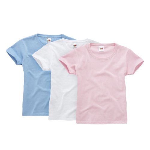 Fruit of the Loom Girls Classic 3 Pack T 110053 Mädchen Shirts/ T-Shirts, Gr. 116, Weiß (wHüte skyblue light pink 39)