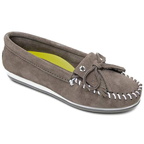 Minnetonka Women's Kilty Plus Suede Moccasins with Water Resistant Treatment 11 M Grey