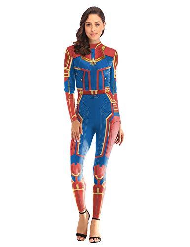 Es Unico Disfraz de Capitán Marvel. Adultos Trajes Ropa Superhéroe (S/M, Rojo)