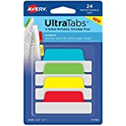 """Avery Margin Ultra Tabs, 2.5"""" x 1"""", 24 Repositionable Tabs, Two-Side Writable, Red/Yellow/Green (74768)"""