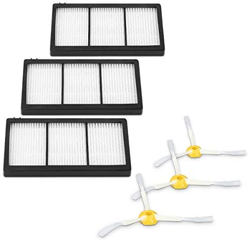 kwmobile Kit Accessori Ricambi Aspirapolvere - 3X Filtri Ricambio / 3X Spazzole Laterali Elicoidali Compatibile con iRobot Roomba Serie 800 e 900