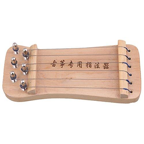 Chinesischer Guzheng Fingertrainer von Yibuy, tragbare, naturfarbene Zither, mit 6 Saiten, 210x 92x 35mm, verbessert Fingermuskulatur und Technik, Trainingsgerät für Guzheng-/Koto-/Harfespieler