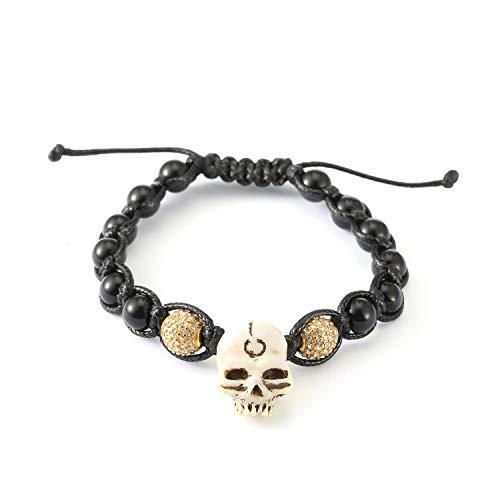 AFSTALR Bracelet Johnny Hallyday Cadeau Bijoux de Luxe pour Hommes Tressé Perles Crâne de Simulation, À Son Concert(Longueur Ajustable)