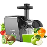 Slow Juicer Machine for Vegetables and Fruits, Home Cold Press Masticating Juicer Extractor Quiet Motor Reverse Function, BPA-Free Easy to Clean with Brush, for Celery Wheatgrass Leafy Greens Ginger