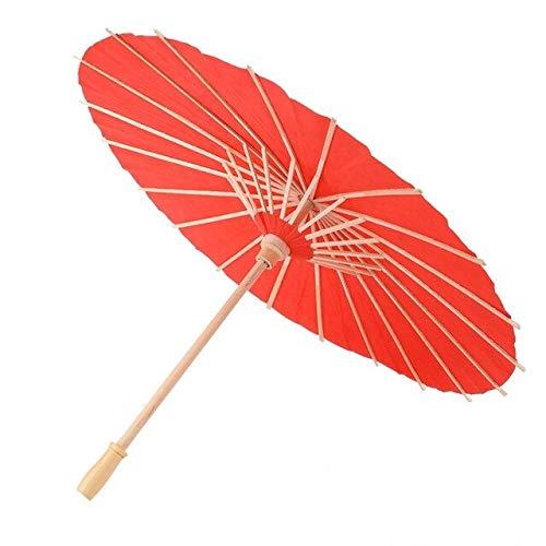 RSZHHL Regenschirm 60cm japanischer Papierschirm, chinesischer Stil, Holzhandhabung, Feminine Dekoration, Requisiten für Kinder,roteRegenschirmhandmalerei