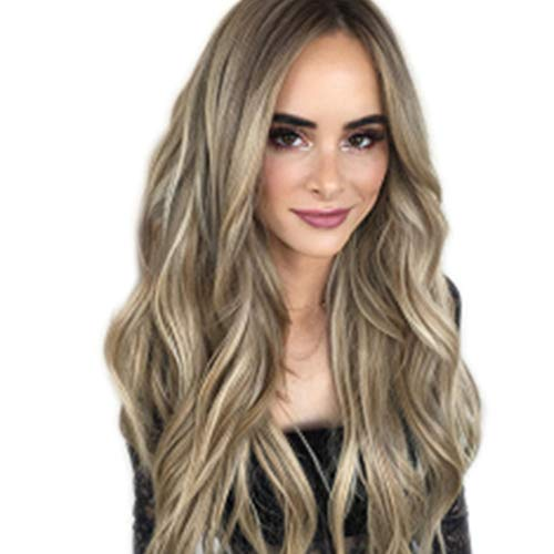 NXKang Natural Long Wavy Grey Lace Front Wigs for Women ,Black Roots Middle Part 22 inch Best Affordable Wigs for Daily Use