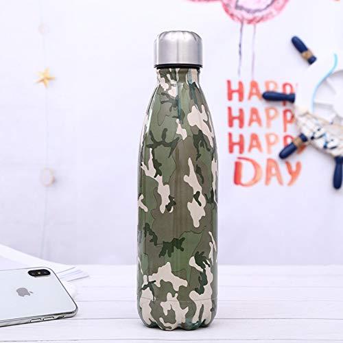 SWXC Camouflage Wasserflasche Cool Isolierte Tasse Isolierflasche Doppelwandige Edelstahl Thermoskanne Fahrrad Bier Trinkflasche Handliche Tasse