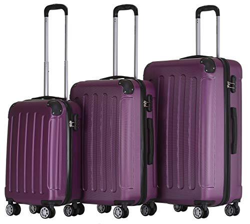 BEIBYE Zwillingsrollen Hardcase Reisekoffer Koffer Trolleys Hartschale in XL-L-M in 14 Farben (Violett, Kofferset)