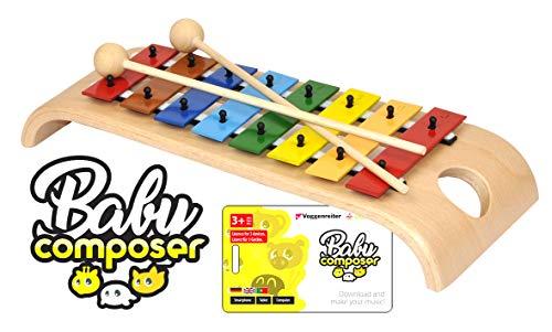 Voggenreiter Glockenspiel-Set für Kinder ab 3 - 6 Jahren inkl. Baby Composer Lernsoftware App für Smartphone, Tablet & Computer