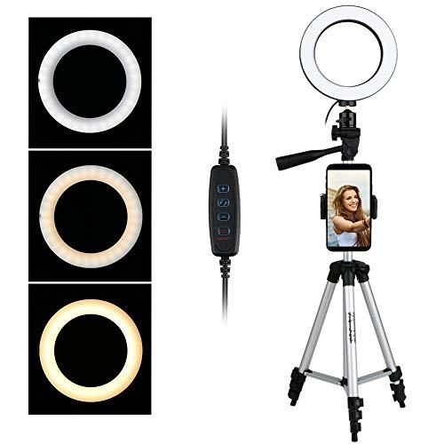 Thlevel Luz de Anillo LED 6.2' con Trípode 3 Modos 10 Brillos Regulables Anillo de Luz con Soporte de Teléfono para Selfie, Maquillaje, Youtube, TIK Tok (Plata)