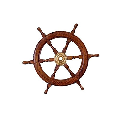Handcrafted Model Ships Deluxe Class Wood and Brass Decorative Ship Wheel 24' - Nautical Home Decoration Gifts おもちゃ [並行輸入品]