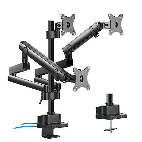 Maclean MC-811 3-Fach Monitorhalter mit Gasfeder Tischhalterung Monitorarm Monitorständer VESA 75x75 100x100 17-27