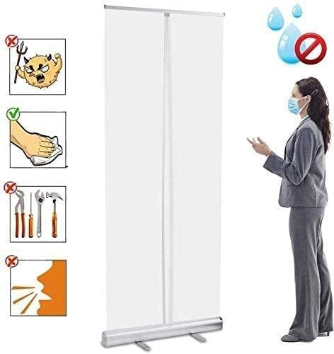 Protective Wall Spit Protection Divider Screen Cough Protection Sneeze Guard TANKKWEQ Floor Standing Transparent Partition Screen,Anti-Sneeze roll-up Banner Transparent Roll Up Banner