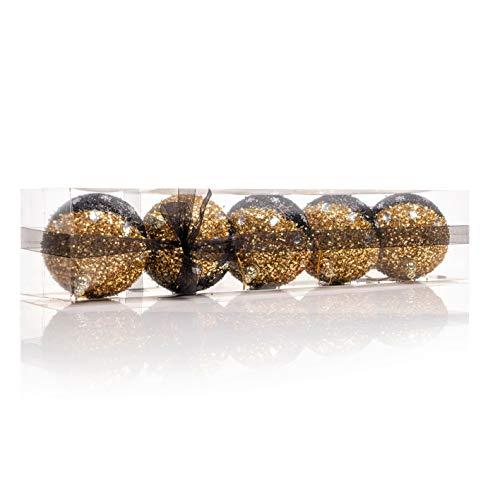 Nataland Confezione 5 Palline Natalizie Oro e Nero Diametro 11 Cm Decorate A Mano, Box Sfere Perfette Come Addobbo e Decoro per Albero di Natale e Casa (5 Sfere - 11 Cm, Modello 1)