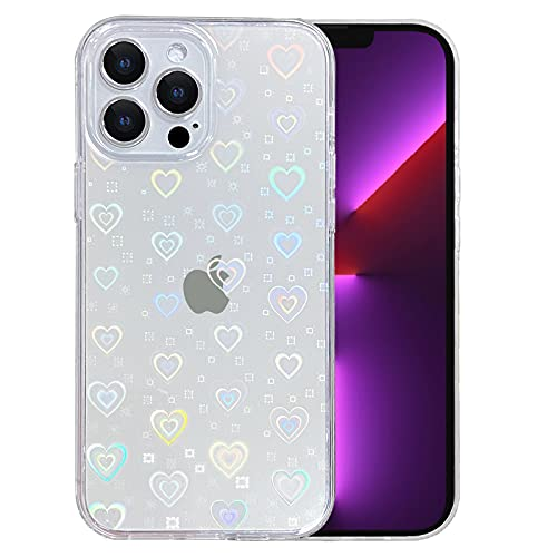 SmoBea Compatible with iPhone 13 Pro Case (No Fit iPhone 13) Clear Laser Glitter Bling Heart Soft & Flexible TPU and Hard PC Shockproof Case Women Girls Heart Pattern Phone Case (Rainbow Heart/Clear)