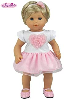 Sophia's 15 Inch Baby Doll Clothes 2 Pc. Set, Detailed Pink Heart Top, Tutu Skirt & Headband Fits American Girl 15
